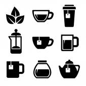 Tea Icons Set. Vector. — Vector de stock