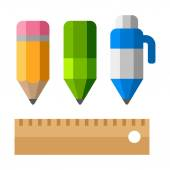 Drafting Tools on White Background. School Equipment Icons - Pen, Pencils and Ruler. Flat Vector Style — Stock Vector