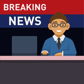 Newscaster with Computer, Breaking News. Vector — Stock Vector