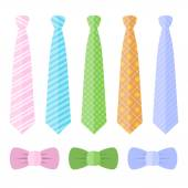 Set of Ties and Bow Ties. Vector — Stock Vector