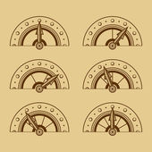 Set of Indicators in Retro Style. Vector — Stock Vector