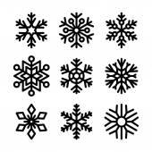 Snowflake Icons Set on White Background. Vector — Stockvektor
