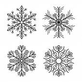 Snowflake Icons Set on White Background. Vector — Stock Vector