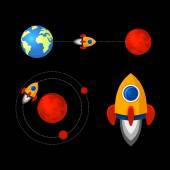 Mission to Mars Icons Set. Vector — Stock Vector