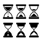Sand Glass Clock Icons Set. Vector — Stock Vector