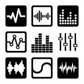 Soundwave Music Icons Set on White Background. Vector — Stock Vector