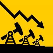 Gráfico de caída de precio de aceite. Vector de — Vector de stock
