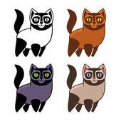 Set of Cartoon Kitties or Cats. Vector — Stock Vector