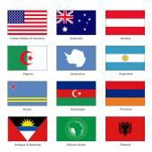 Welt-Flags festgelegt. Name Land Brief A. Vektors — Stockvektor