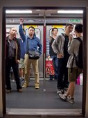 Passengers in MTR subway cabin — Stock Photo