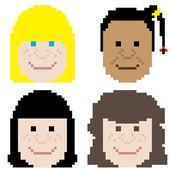 женское пиксельное искусство лица — Cтоковый вектор