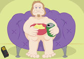 Lazy guy couch potato with chips and beer — Stockvector