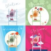 Cute birds in four seasons — Stock Vector