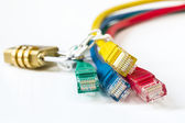 Colorful network cables secured lock with chain — Stock Photo