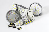 Various led bulbs G4, GU10, MR16, R7s and individual chips — Stock Photo