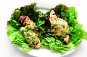 Healthy chicken tenders wrapped in lettuce — Stok fotoğraf
