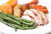 Roasted turkey dinner with seasonal vegetables — 图库照片