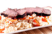 Medium rare beef tenderloin — Stock Photo