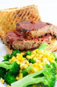 Delicious sliced meatload sandwich with toasted ciabatta bread a — Stock Photo