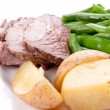 Sliced leg of lamb with fresh vegetables — Stock Photo #57793767