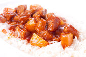Healthy home made sweet and sour pork on white rice  — Stock Photo