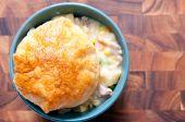 Turkey pot pie with pastry top — Stock Photo