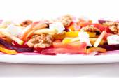Beet salad with apple, walnuts and goat cheese — ストック写真
