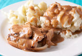 Open faced hot chicken sandwich with mased potatoes — Stock Photo