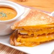 Soup and grilled cheese — Stock Photo #61391345