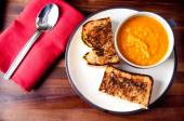 Grilled cheese sandwich and soup — Stock Photo