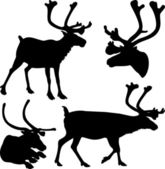 Reindeer - vector silhouettes and icons — Stock Vector
