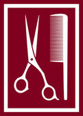 Icon with barber scissors and comb — Stockvector