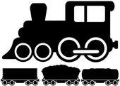 Carro e trem locomotiva isolada — Vetor de Stock