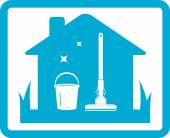 Cleaning home icon — Stockvektor