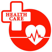 Red health care icon with heart — Stock Vector