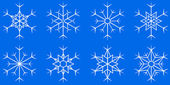 Snowflake set on blue background — Stock Vector
