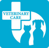 Veterinariry care icon with dog and cat — Stock Vector