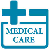 Blue medical care icon — Stock Vector