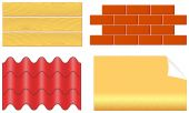 Isolated wood boards, bricks, ply shingles and wallpaper — Stock Vector