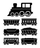 Set train cars for travel or cargo delivery — Stockvektor