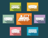 Colorful rail road icons set — Stock Vector
