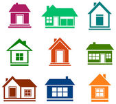 Colorful cottage set — Vector de stock