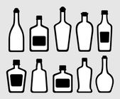Isolated alcohol bottles set — Stock Vector
