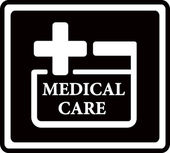 Black medical care icon — Stock Vector