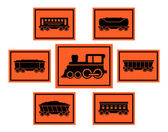 Red rail road icons set — Stock Vector