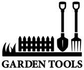 Black gardening symbol with tools — Vetor de Stock