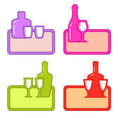 Set alcohol bottles with glasses on colorful tray — Stock Vector