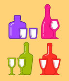 Set isolated coorful bottles and glassses icons — Stock Vector