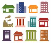 Colorful icons with urban architecture — Stock Vector