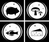 Food black icons set — Stock Vector